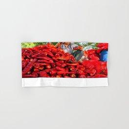 Turkish Woman Preparing Red Peppers Hand & Bath Towel