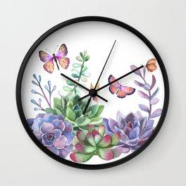 A Splendid Secret Succulent Garden With Butterfly Visitors Wall Clock