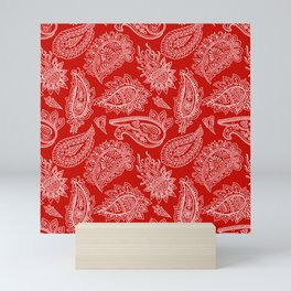 Red paisley Mini Art Print
