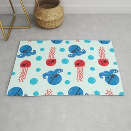 Pirate Octopus, Jellyfish With Pirate Eye Patch Rug