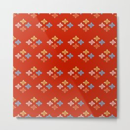 Las Flores - Red 02 (Patterns Please) Metal Print