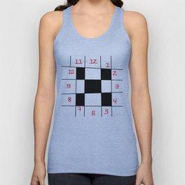square clock-square,fun,black,red,white,psychedelic,crazy,relativity Unisex Tank Top