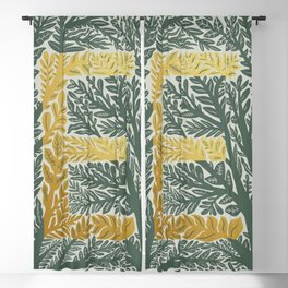 Botanical Metallic Monogram - Letter E Blackout Curtain