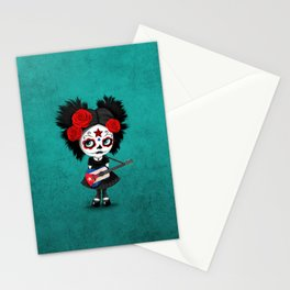 Day of the Dead Girl Playing Cuban Flag Guitar Stationery Cards