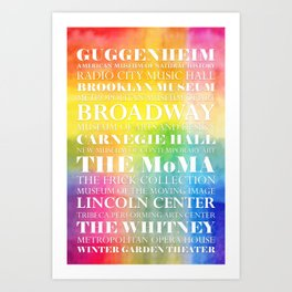 New York Arts - white text on color Art Print