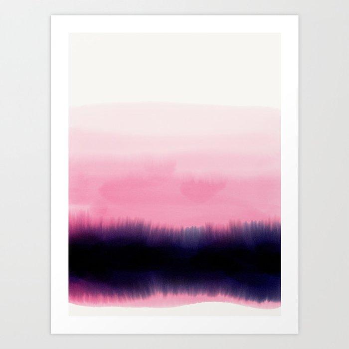 Sunday's Society6 | Watercolor pink sunset art print