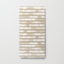 Macramé Stripes Minimalist Pattern in White and Neutral Flax Metal Print