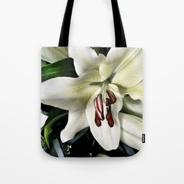 White lily vintage flower Tote Bag