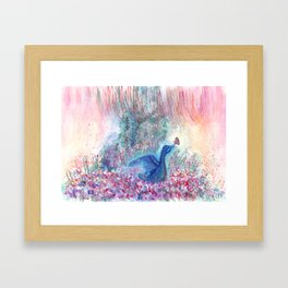 Mystical Blue Bird Watercolor Art Framed Art Print