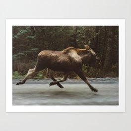 Running Moose Art Print