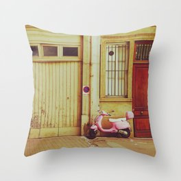 Pink scooter in a french alley   Travel Photography Throw Pillow