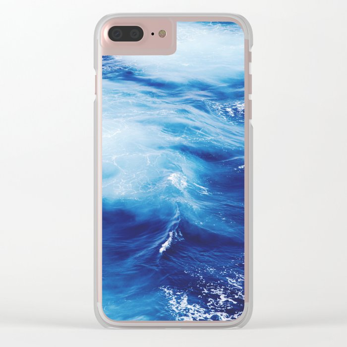 Blue Waves of Glory Clear iPhone Case