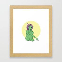 Green cosmic creature/ Alien Framed Art Print