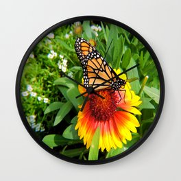 Monarch on Full Blanket Flower Wall Clock