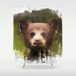 Bear Cub - Watercolor Shower Curtain