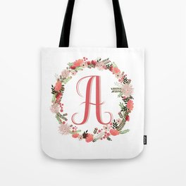 Personal monogram letter 'A' flower wreath Tote Bag