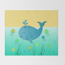 Happy baby whale Throw Blanket