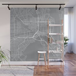 Jacksonville Map, Florida USA - Pewter Wall Mural