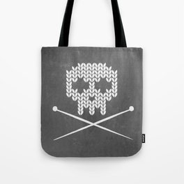 Knitted Skull (White on Grey) Tote Bag