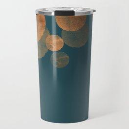 Metal Copper Dots on Emerald Travel Mug