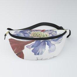 Blue Scabiosa Flower Fanny Pack