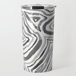 Black and White Abstract Line Art Minimal Gray Travel Mug
