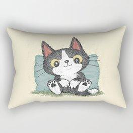 Black kitten relaxing Rectangular Pillow
