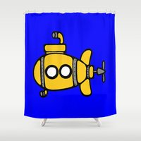 yellow submarine Shower Curtains featuring Yellow Submarine by Caroline Blicq