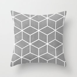 Light Grey and White - Geometric Textured Cube Design Throw Pillow