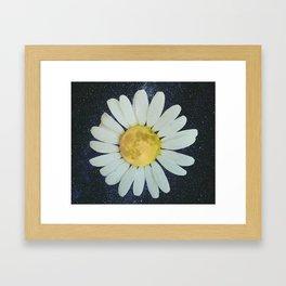 Galaxy Moon Daisy Framed Art Print