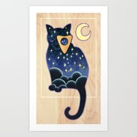 ouija Art Prints featuring Ouija Cat by Kiki Stardust