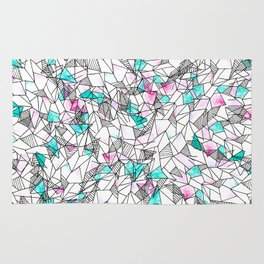 Pink and Teal Abstract Watercolor and Geometric Rug