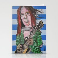 neil young Stationery Cards featuring Neil Young by Robert E. Richards