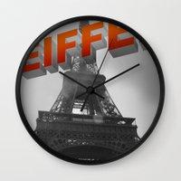 eiffel Wall Clocks featuring Eiffel by Vin Zzep