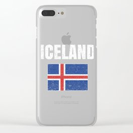 Iceland Flag Vintage National Icelandic Country Gift Clear iPhone Case