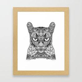 Ornamental, tattooed mountain lion Framed Art Print