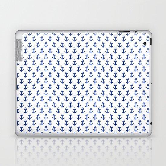 White Anchor Pattern 1 Laptop & iPad Skin