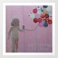 pink balloons Art Print