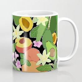 Avocado + Peach Stone Fruit Floral in Black Coffee Mug