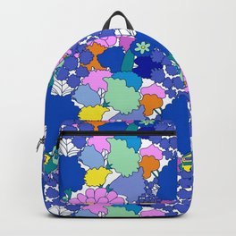 Far-Out 60's Floral in White Backpack