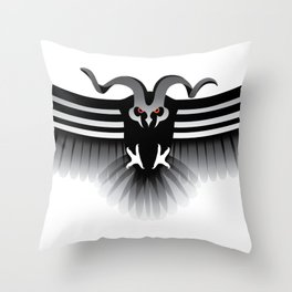 Horned Owl on the Hunt Throw Pillow
