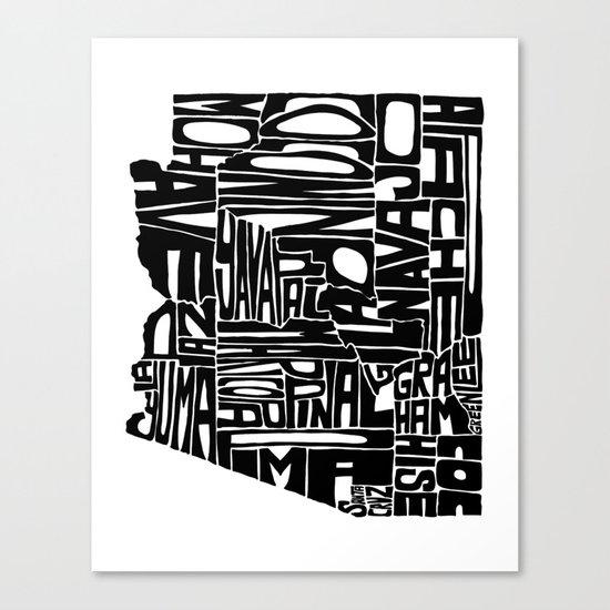 Typographic Arizona Canvas Print