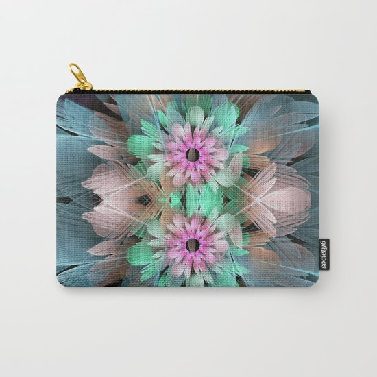 Soft coloured Twin Flowers Carry-All Pouch