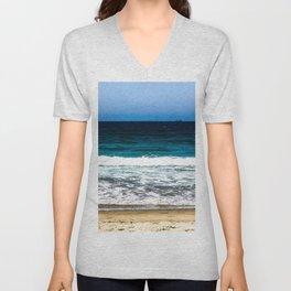 """""""Layers"""" Sand Beach Waves Ocean Sky Unisex V-Neck"""
