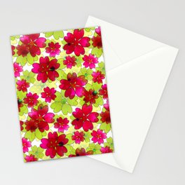 Floral red green pattern. Stationery Cards