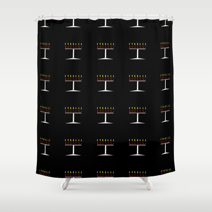 menorah 6,Hanukkah,jewish,jew,judaism,Festival of Lights,Dedication,jerusalem,lampstand,Temple, מְנו Shower Curtain