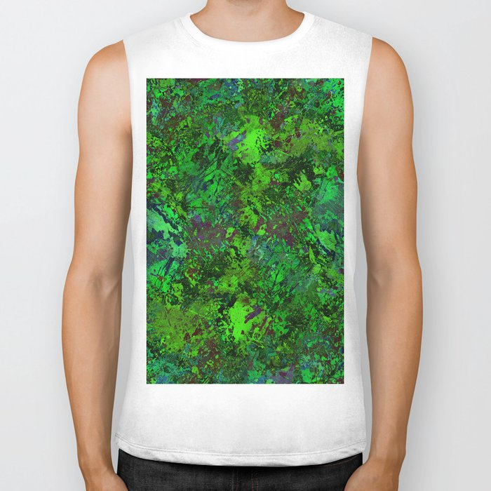 Lost In The Jungle - Abstract, green, jungle, foliage, leaves, forest themed artwork Biker Tank