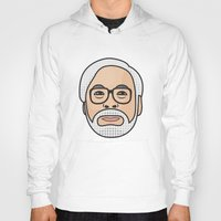 miyazaki Hoodies featuring Hayao Miyazaki Portrait - Grey by Cedric S Touati