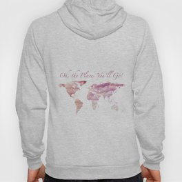 Cotton Candy Sky World Map - Oh, the Places You'll Go! Hoody