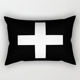 Plus Sign (White & Black) Rectangular Pillow